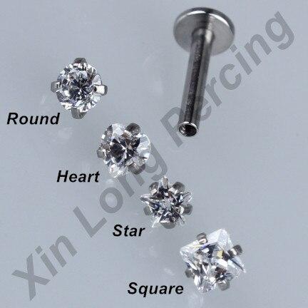 1 Pieces of Retail Zircon Internally Threaded Labret Monroe Lip Studs Rings Ear Piercing Ear Cartilage Helix Tragus Stud Jewelry