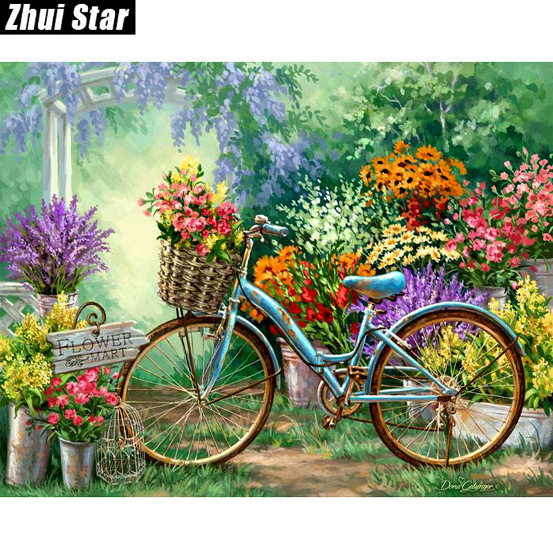 "Full Square Diamond 5D DIY Diamond Painting ""Flowers and Bicycles"" Ասեղնագործություն Cross Stitch Rhinestone Mosaic Painting Decoration Gift"