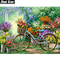 Full Square Diamond 5D DIY Diamond Painting Flowers And Bicycles Embroidery Cross Stitch Rhinestone Mosaic Painting Decor Gift