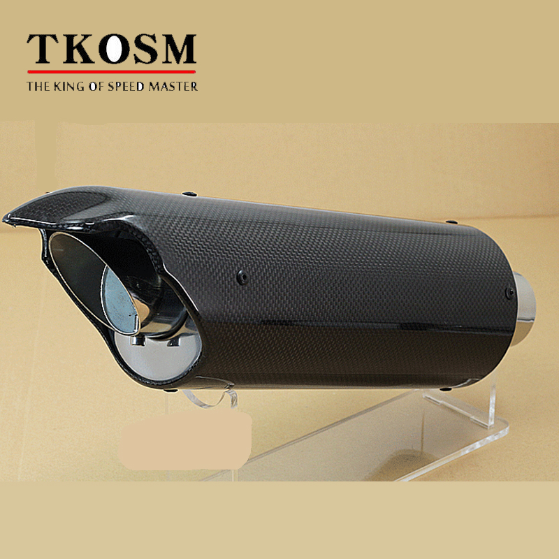 TKOSM Universal Motorcycle Exhaust Pipe Muffler Carbon Fiber Modified Exhaust Pipe For Kawasaki  R1 Huanglong 600 universal modified 61mm motorcycle modified muffler exhaust pipe carbon fiber exhaust large displacement