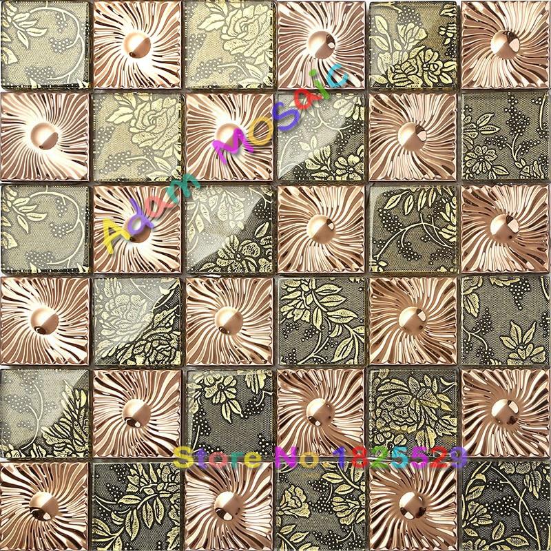gold glass flower pattern mosaic tile 3D spiral texture rose golden ...