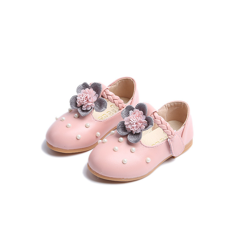 fashion spring autumn kids casual pearls hook loop flower cute girls low heeled princess sewing lace PU leather shoes