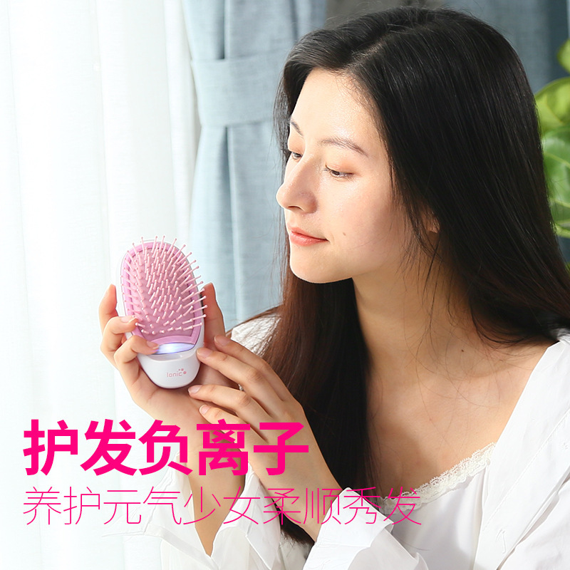 Fashion Portable Ionic Electric Hair Brush Hair Scalp Massage Brush Beauty Care Negative Ions Hair Comb Brush Hair Styling Tools negative ions vibration anion hair massager comb anti hair loss massage brush dry battery head relaxtion hair comb brush tool