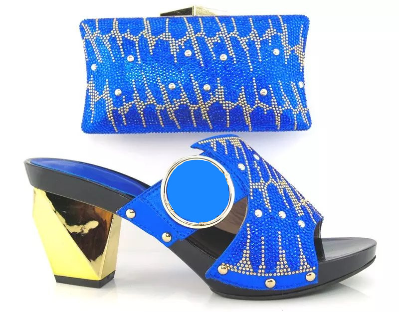 ФОТО New Coming Style Italy ladies Shoes And Bag Set ROYAL BLUE 37-43 African High Quality Shoes And Matching Bags For Party/Wedding