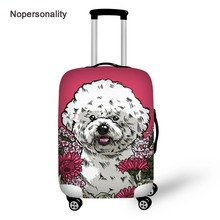 Nopersonality Pink Bichon Frise Print Travel Luggage Cover Elastic 18-30inch Baggage Cover Stretch Travel Suitcase Cover Zipper