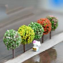 5PCS Mini Garden Decorations Resin Tree Fairy Garden Terrarium Figurines Miniature Fairy Figurines Miniatures Trees Garden Decor