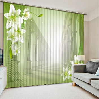 3D Expand the space Window Curtain flower The Bedroom Curtain For Hotel Cafe Office Home Decor Drapes Cotinas Para Sale