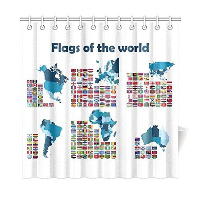 Flags Of The World Map For Home Fabric Shower Curtain Bathroom Sets With Hooks 72 X InchesWith Set