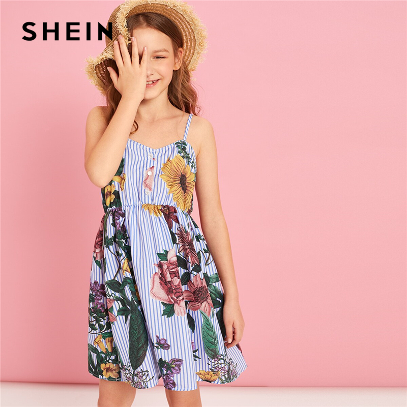 SHEIN Kiddie Girls Button Front Striped And Floral Print Cute Spaghetti Strap Dress Kids 2019 Summer Boho Flared Short Dresses(China)