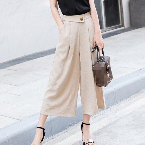 2e1fe8bc22a Wide Leg Pants Women 2018 Summer Korean Casual Solid Color Calf Length High  Waist Palazzo Pants Trousers Black Khaki Gray B242