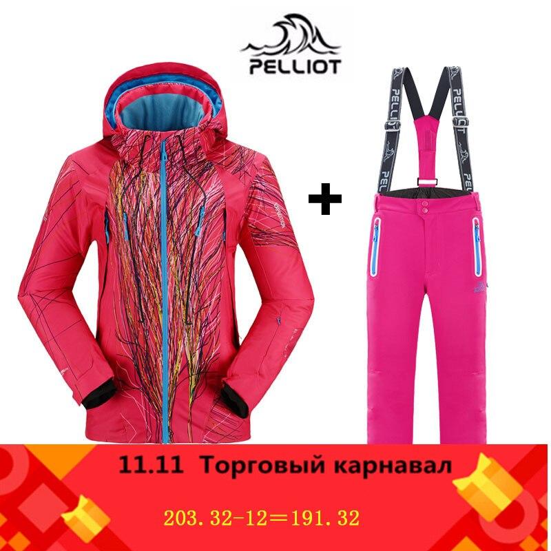 Traje de esquí para mujer Pelliot marca famosa chaquetas + Pantalones cálidos de invierno a prueba de agua esquí snowboard ropa conjunto chaqueta y pantalón de esquí