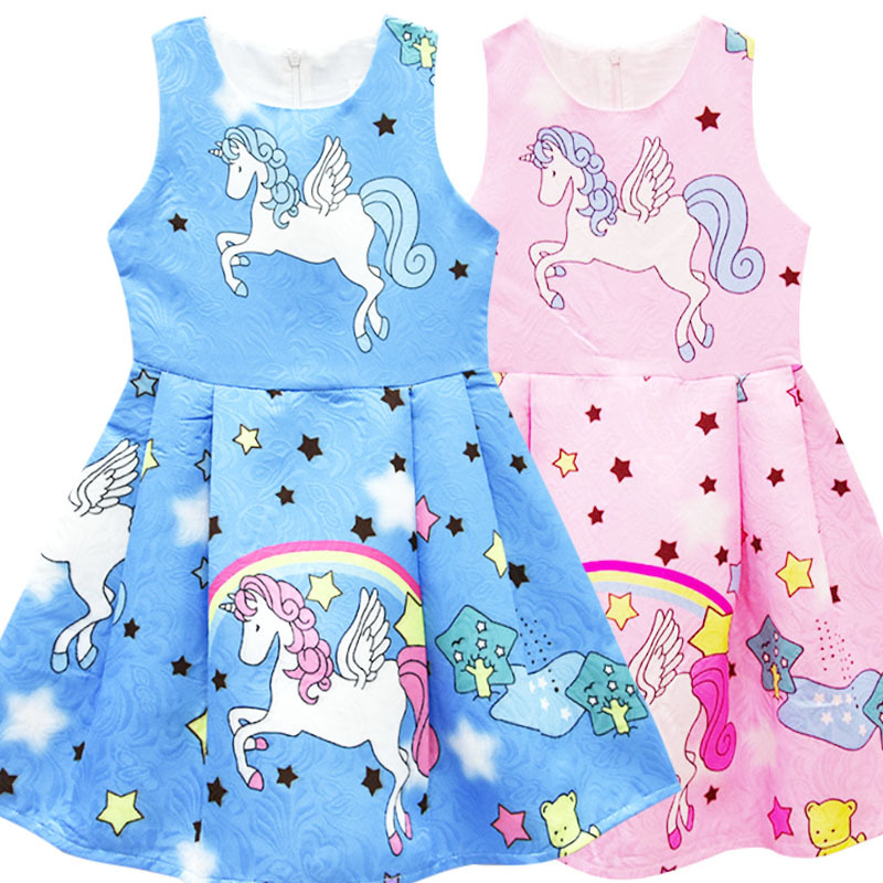 Unicorn Girls Vestido Summer Dress Kids Clothes 2018 Baby Girl unicorn party Dress Robe Fille Princess Dress Children Clothing girls summer dress kids clothes 2017 brand baby girl dress with flower robe fille princess dress children clothing
