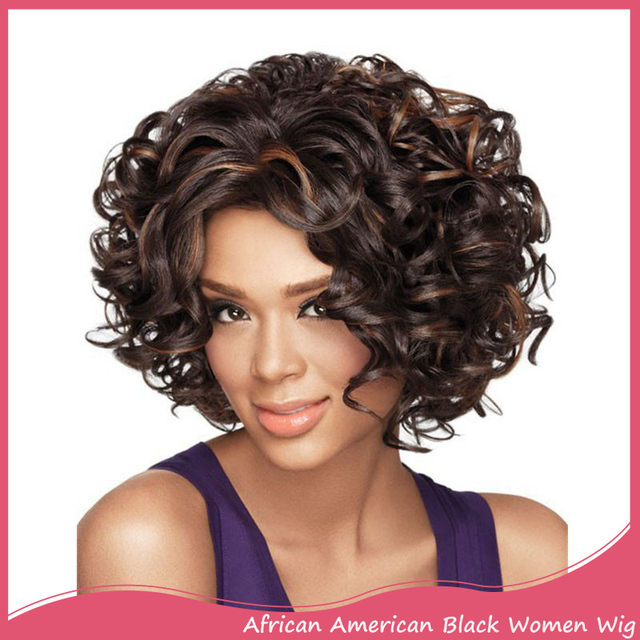 Us 25 99 Women S Short Curly Wig For Black Women African American Short Bob Hairstyles Synthetic Natural Black Brown Wig Afro Pelucas On