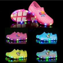2017 Summer LED Kid Mules And Clogs For Girls And Boys Fashion Breathable Colorful Children Beach Shoes Size 19-30