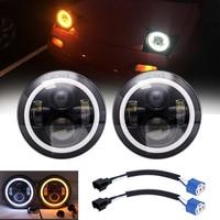 2X 7Inch LED Headlights with White Halo Ring Angel Eyes+Amber Turn Signal Halo For Jeep Wrangler JK lada niva 4x4 suzuki samurai