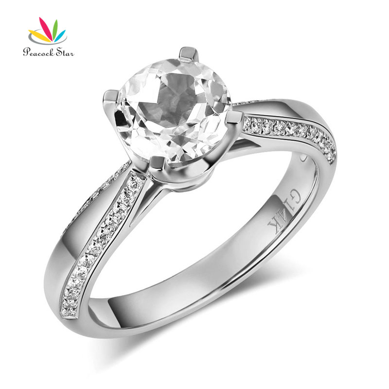 Peacock Star 14K White Gold Bridal Wedding Engagement Ring 1.2 CT Topaz 0.2 CT Natural DiamondPeacock Star 14K White Gold Bridal Wedding Engagement Ring 1.2 CT Topaz 0.2 CT Natural Diamond