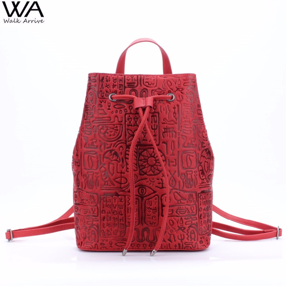 Walk Arrive Genuine Leather Women Backpack Oracle Embossed Cow Leather Vintage School Bag Fashion Travel Bag oracle e business suite