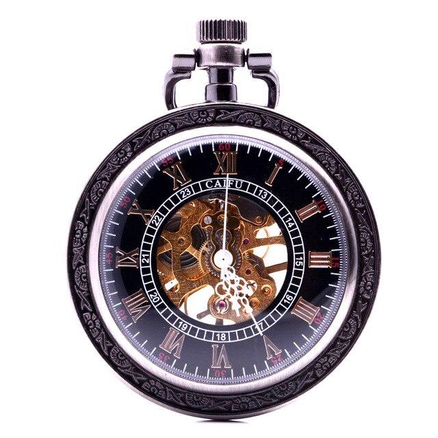 d8ce167baf4 Vintage Antique Steampunk Engrenagens Aberto Caso Mens Vento Mão Mecânica  Pocket Watch Skeleton Mulheres Algarismos Romanos
