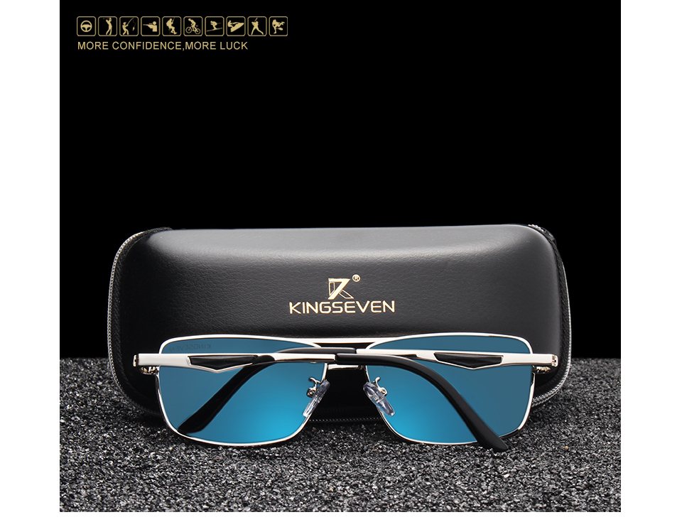 KINGSEVEN 2020 Brand Classic Square Polarized Sunglasses Men's Driving Male Sun Glasses Eyewear UV Blocking OculosN7906