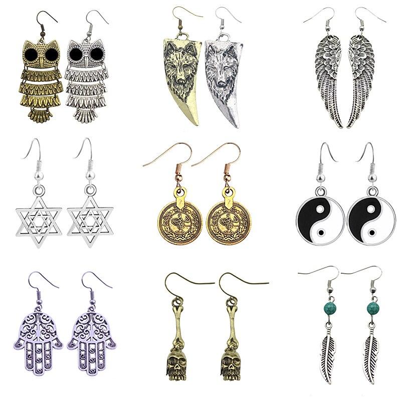 Fashion Retro Owl Wolf Head Earrings Personalized Nightclub Exaggerated Wings Handcuffs Pendant Ear Hook Female Earrings Jewelry