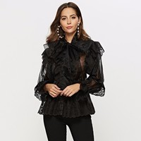 LANMREM 2019 Summer New Perspective Sexy Cool Shirt Casual Long Sleeve Organza Bow Collar Top Female Blouse White Black YH513