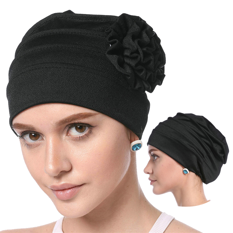 2019 Women Muslim Solid Cotton Inner Hijabs Bonnet Soft Elastic Flower Headscarf Hats Fashion Islam Arab Head Wrap Turban Caps