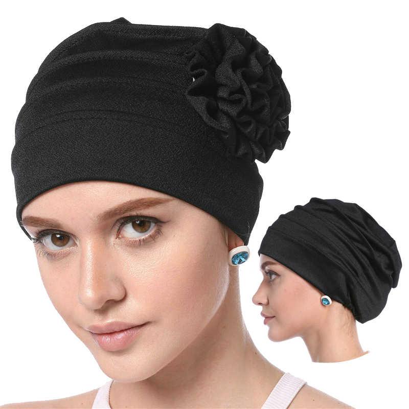 2019 женские мусульманские Твердые хлопковые внутренние хиджабы капот мягкий эластичный цветок головной платок шапки модный исламский, арабский повязка на голову, тюрбан шапки