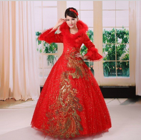 The big red long-sleeved wedding dress cotton winter wedding new winter bridal wear winter paragraph