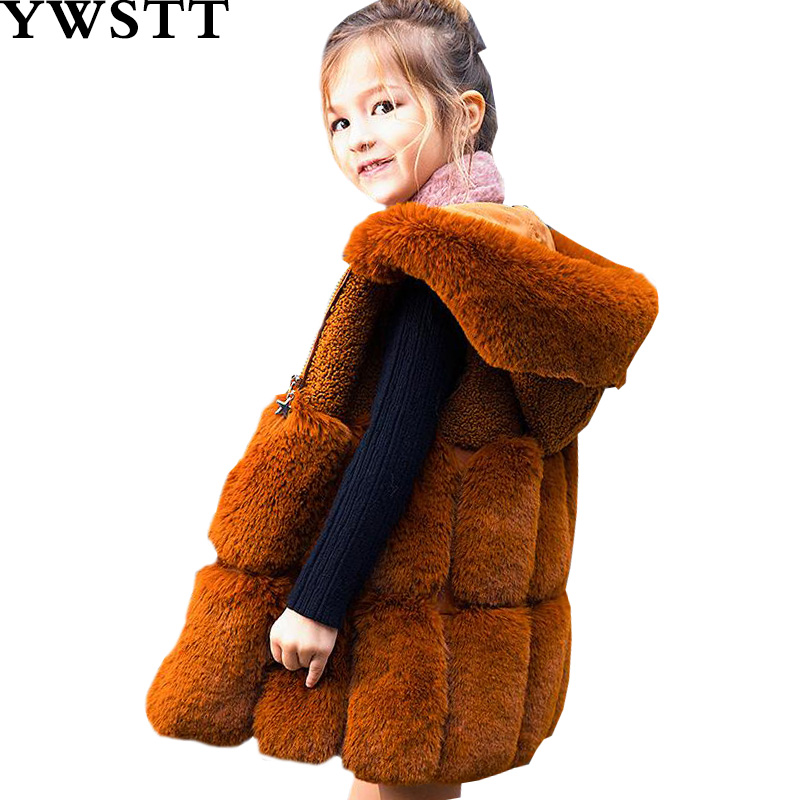 Kids Winter Plush Vest 2018 new Children Warm Vest New Winter Fur Girl Clothes Girl faux fur Coat imitation Fur Vest girls faux fur children s clothing 2018 winter new sweet girl warm coat jacket female treasure fur vest dress grinch christmas