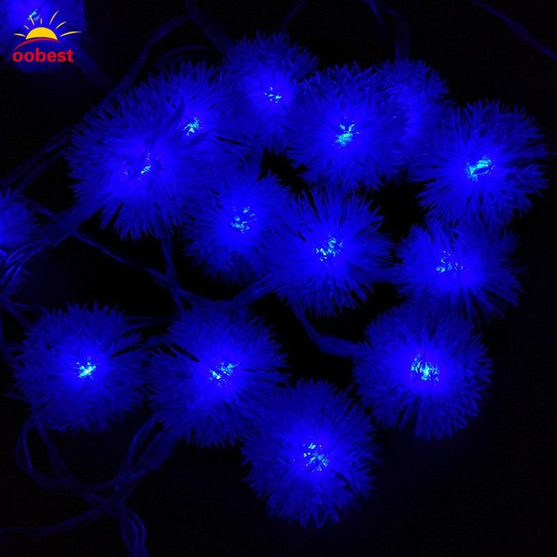 Oobest Chrismas LED Strip Light Snow 30 LED Ball Lights Outdoor Patio Lantern Lights Dandelion Decoration String Lights