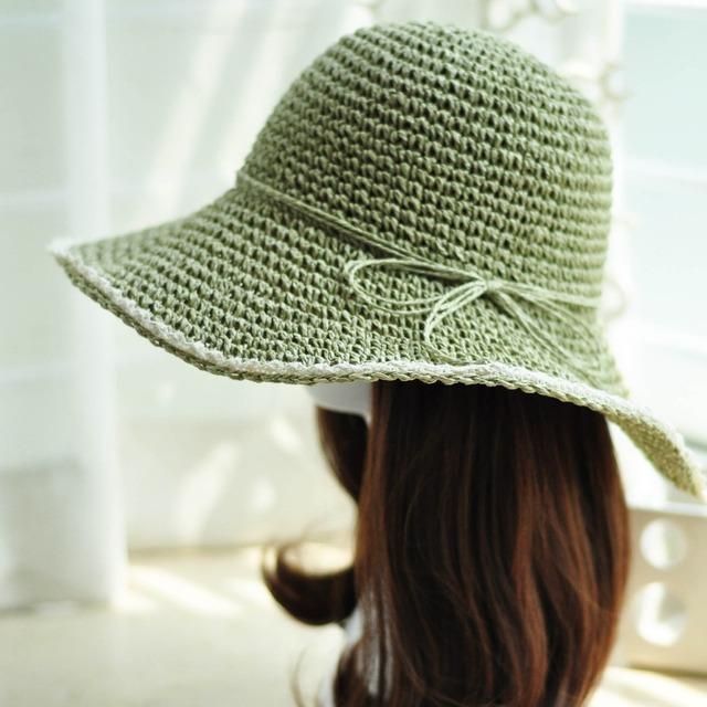 2016 Recién llegado de alta calidad heavey clásico sombrero de paja plegable sombrero canotier para mujeres beach sun sombreros para mujer sombrero de verano