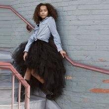 Пышная черная высокая низкая модная юбка для женщин, многоярусная длинная юбка, эластичная юбка-пачка,, юбка макси, женская одежда высокого качества