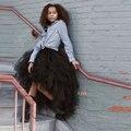 Паффи Черный Высокий Низкий Мода Юбки Для Женщин Многоуровневое Длинные юбка Эластичный Пояс Юбки 2016 Макси Юбка Женская Одежда Высокого качество