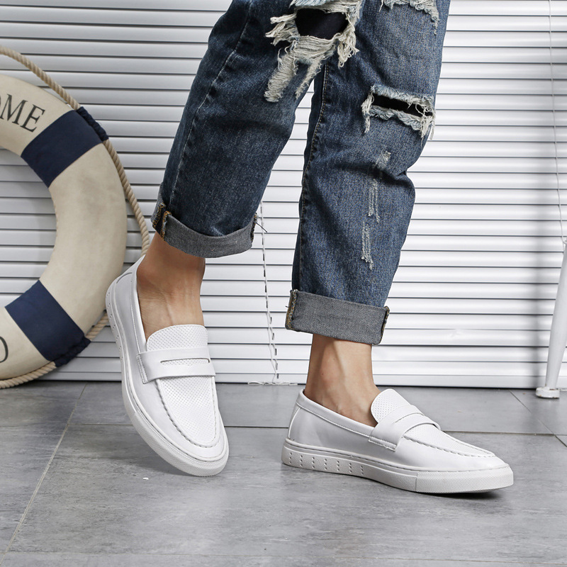2019 spring men's vulcanized shoes new feet small white shoes breathable loafers men's peas shoes outdoor casual shoes 151