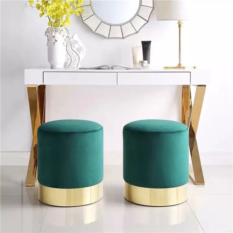 Hot Color Fashion Nordic Dresser Makeup Stool Modern Sofa Metal Foot Stool Creative Short Stool Lint Fabric Change Shoes Stool