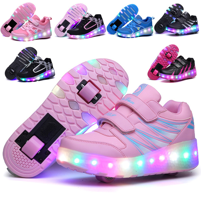 5a4146dabcb54 US $28.89 |LED Flashing Roller Skates Shoes Double Wheels Roller Shoes  Pulley Roller Skate Glowing Sneaker Child Skating Shoes Kids Sneaker-in ...