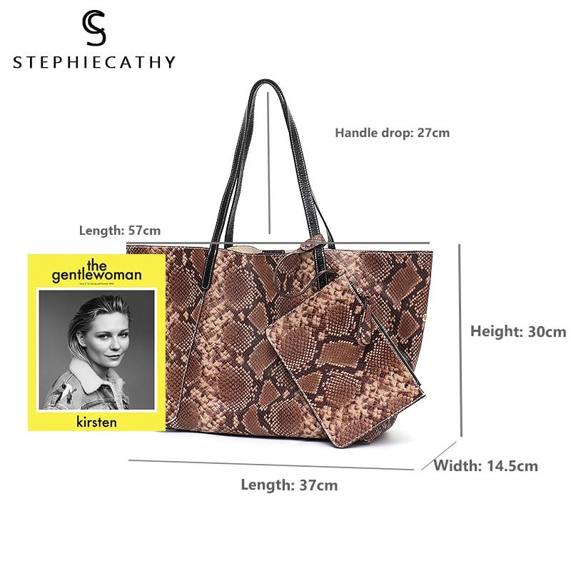 SC Luxury Genuine Leather Shoulder Bag for Women Large Tote Snake Pattern Handbag High Quality Soft Leather Female Shopping Bag
