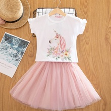 019c25be9daf 2019 Fashion Unicorn Dress for Girls Children's Clothes Kids Lace Dresses  Baby Girls Costume Summer Sleeveless