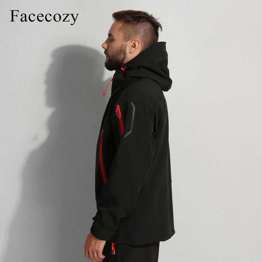 Facecozy メンズ秋冬屋外通気性ソフトシェルキャンプハイキングジャケットジャケット男性フリースフード付き熱釣りスキーコート