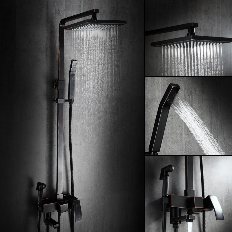 black shower head and faucet. AUSWIND Classical Solid Brass Black Body Shower Set Square Bath  Faucet Matte Bathroom Products In Shower Faucets From Home Improvement