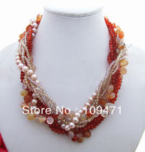 Excellent! 8 Strds Mutiara & Carnelian & Kristal Kalung(China)