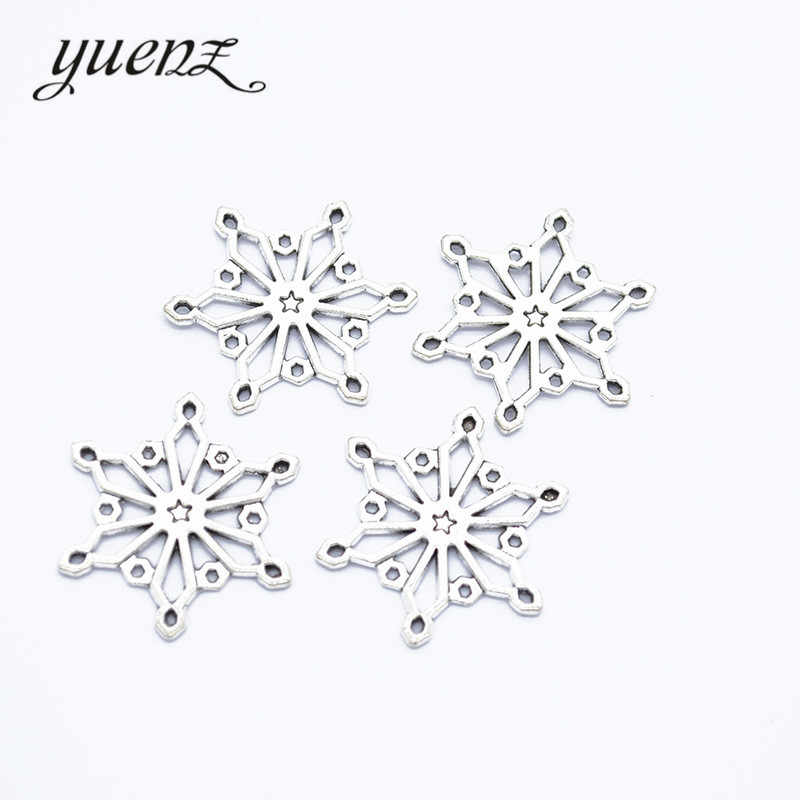 YuenZ 20 pcs Antique Silver Christmas snowflake Charms Metal Pendant Diy Bracelet Necklace Jewelry Making 25*25mm L508