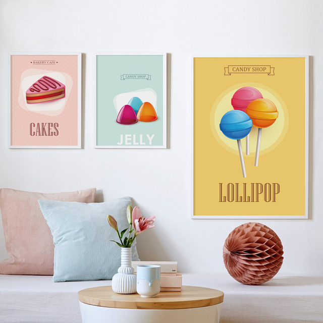 Candy Dessert Pattern Canvas Painting Art Print Poster Picture Wall Paintings Nursery Decoration