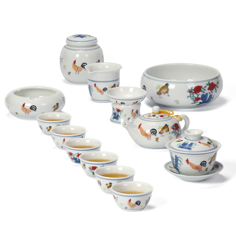 Antique Daming Chenghua couleur haricot poulet tasse Kung Fu thé ensemble ménage couverture bol théière rétro en céramique thé tasse ensemble