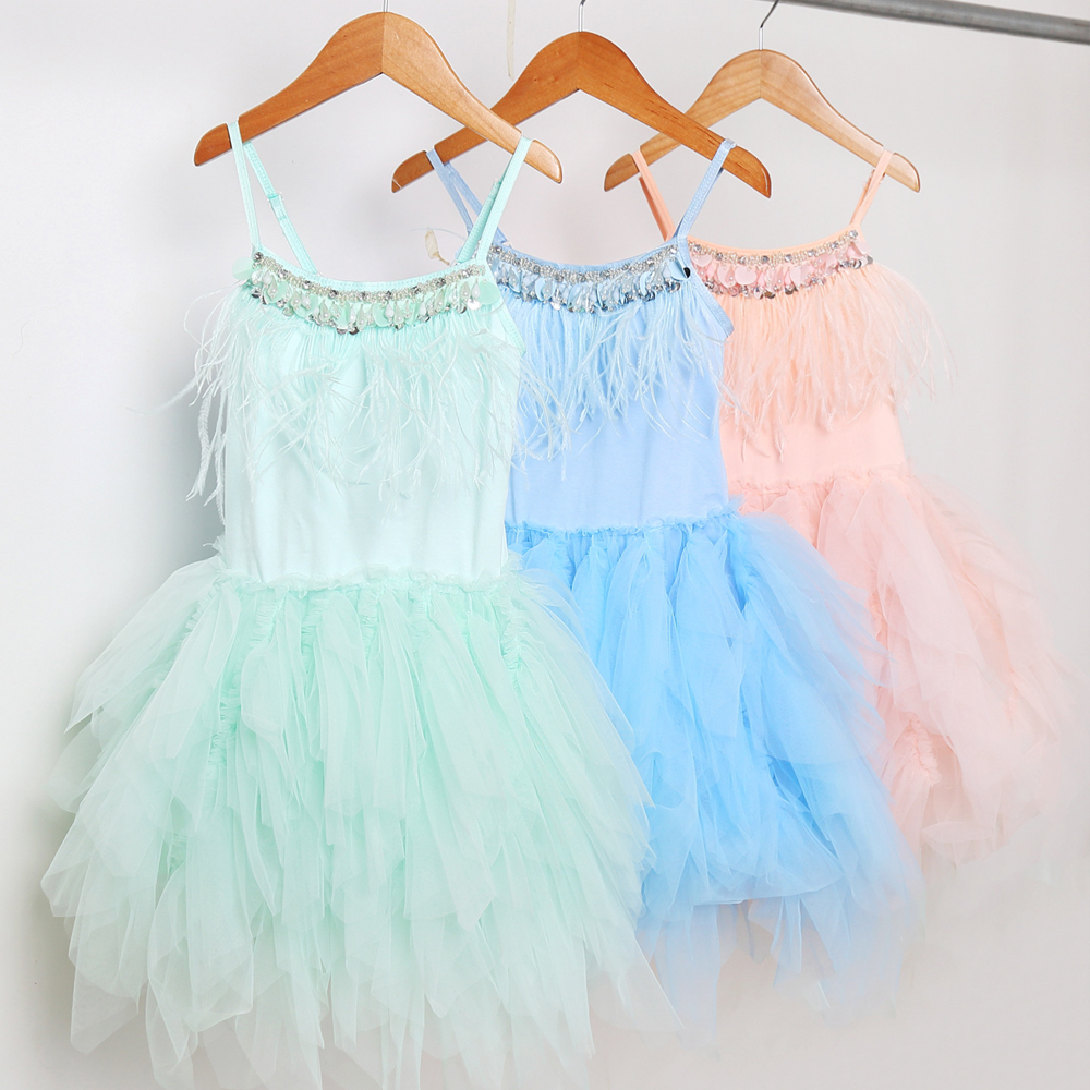 2018 Summer Luxury Rhinestone Dresses Girl Kids princess dress baby vestido infantil Dresses Swan Feather Pageant Dress