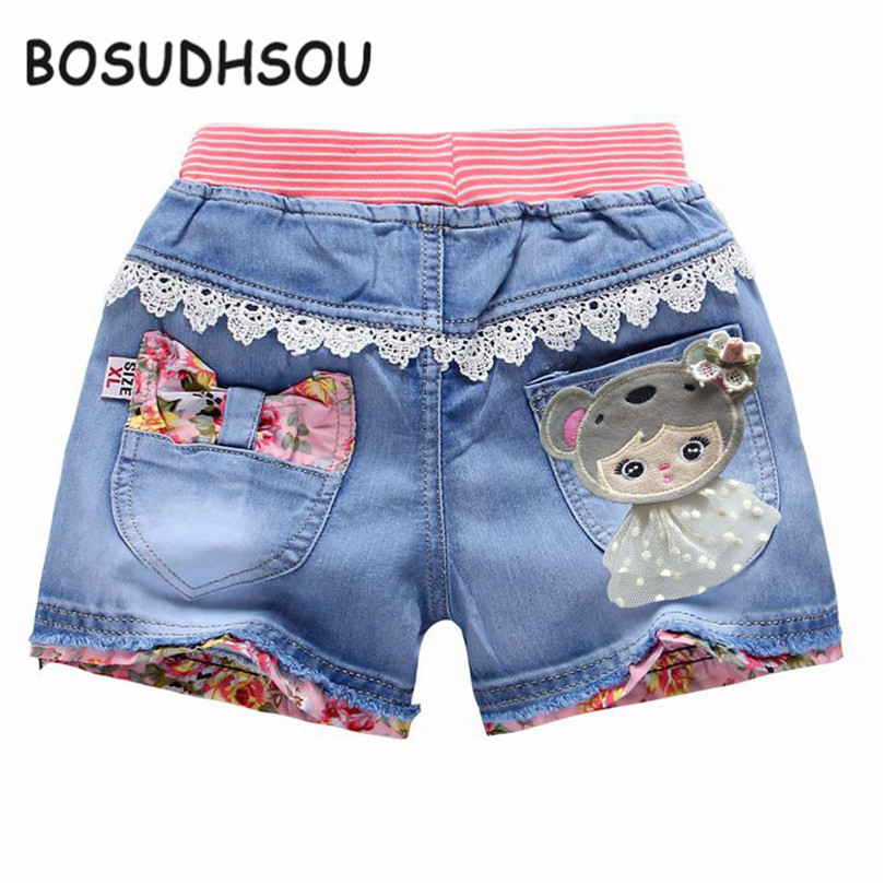 Bosudhsou 2017 New Summer Fashion Baby Girls Short Jeans Lace Children Kids Denim Shorts Pants for Toddler Clothes