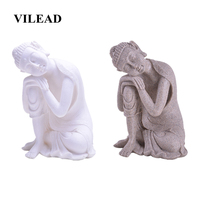VILEAD 10.2 Nature Sandstone Sleeping Buddha Statue Thiland Fengshui Figurines Southeast Asia Ornaments For Home Living Room