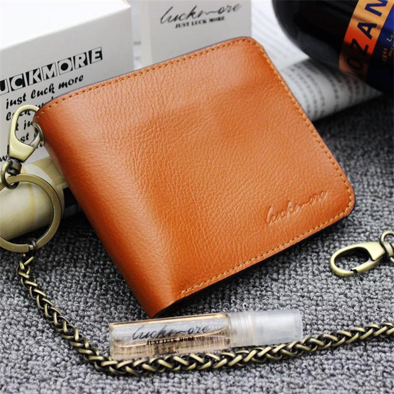 Vintage Crazy horse Genuine Leather Wallet Men Purse Leather Men Wallet Short style Clutch Bag Male Coin bag Money Clips Chain contact s 2018 men wallet genuine leather men wallet crazy horse cowhide leather short male clutch coin purse card holder wallet