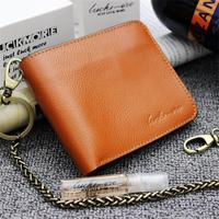 Vintage Crazy horse Genuine Leather Wallet Men Purse Leather Men Wallet Short style Clutch Bag Male Coin bag Money Clips Chain