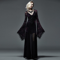 Flocking Dark Violet Gothic Long Dress For Women Steampunk Lace Embroidery Flare Sleeve Floor Length Dress